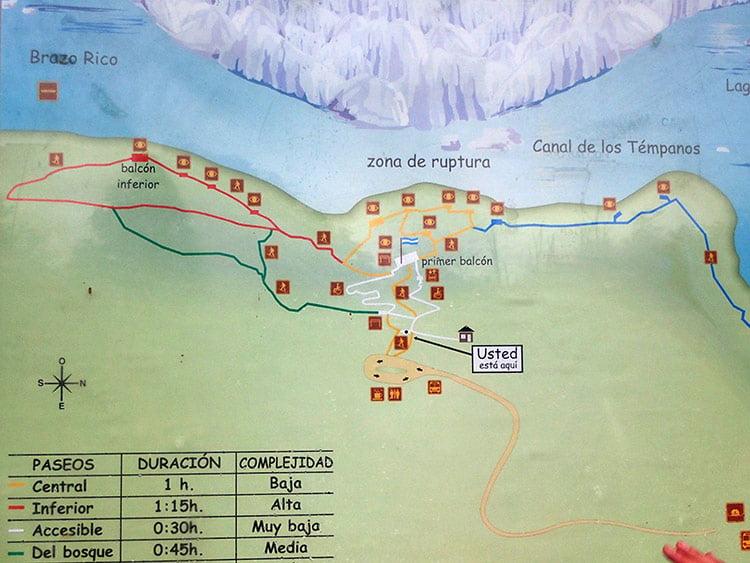Carte des sentiers du Perito Moreno