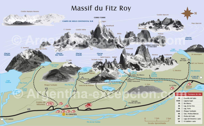 Carte des randonnées à El Chaltén