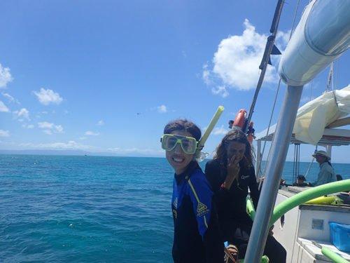 Emilie toute proche de la Grande Barrière de Corail