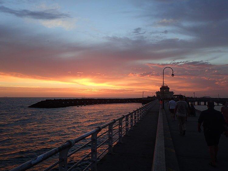 Magnifique coucher de soleil à la jetée de St Kilda