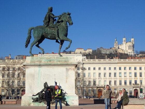 La place Bellecour et sa statue équestre de Louis XIV