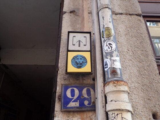 L'entrée de la traboule de la Cour des Voraces à Lyon
